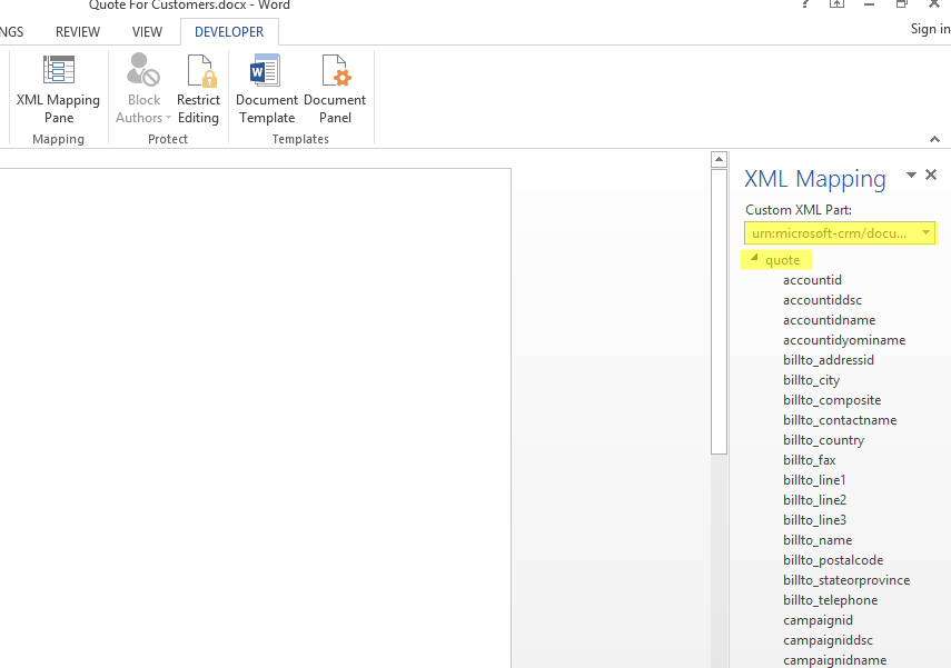 Document Generation Template XML Mapping Pane