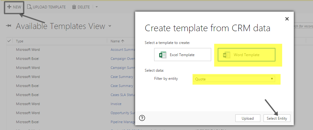 Create Template for CRM Data