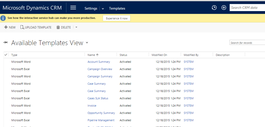 Document Generation in dynamics crm 2016 Available Templetes