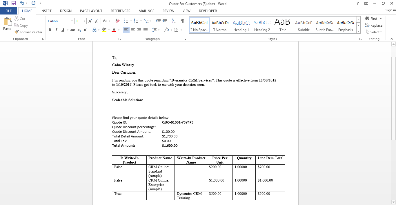 Generating word quote template in dynamics crm 2016 scaleable generated document maxwellsz