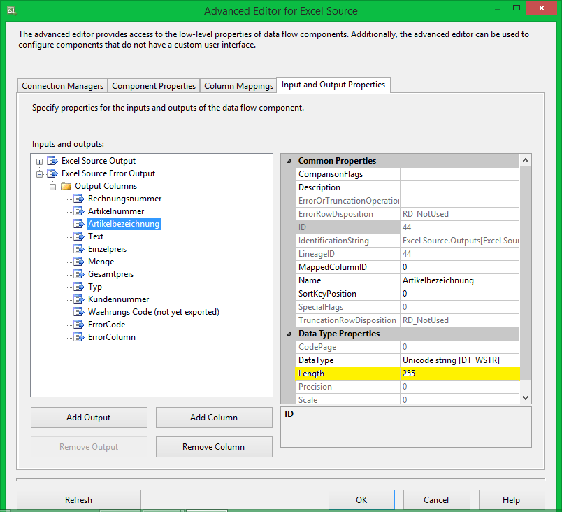 data truncation error in SSIS